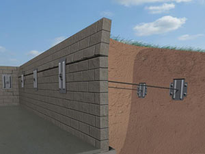 A graphic illustration of a foundation wall system installed in Sun Valley